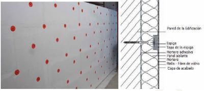 Sección constructiva sistema sate con fijación de tornillos